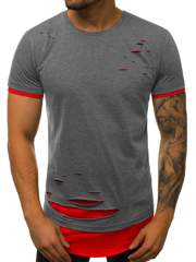 T-Shirt Homme graphite-rouge OZONEE O/1116