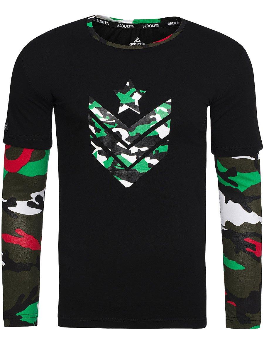 0e305b1def ATHLETIC 1154 T-shirt à manches longues Homme Noir et Vert   OZONEEy