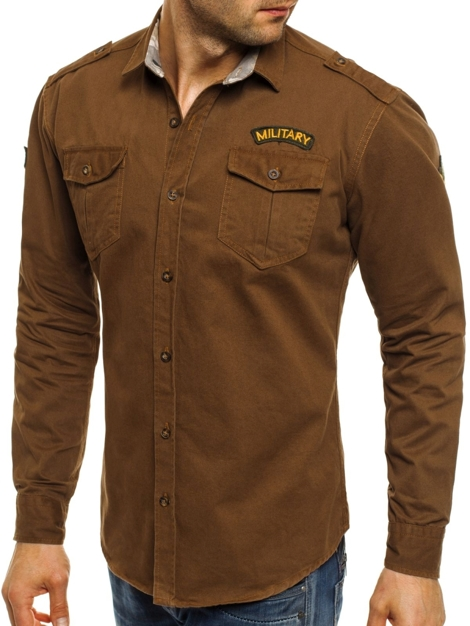 NORTH 2504 Chemise Homme Camel