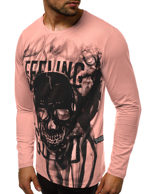 T-shirt à manches longues Homme Rose OZONEE O/1291